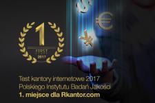1 miejsce dla Rkantor.com w teście kantorów internetowych